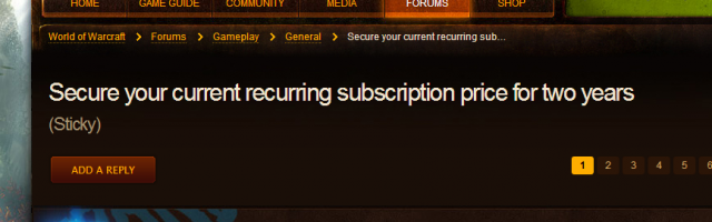 World of Warcraft Subscription Price Rise